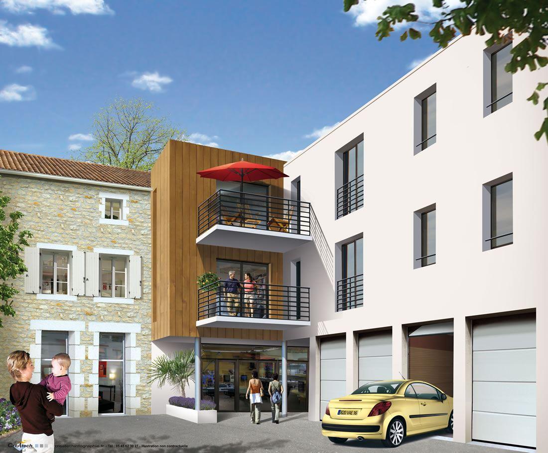 Rénovation et construction neuve de 6 appartements T3 et commerces à Ruffec 16 Charente